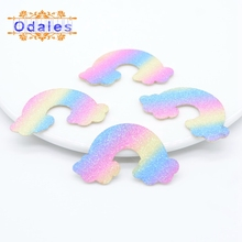 60Pcs 5CM Kawaii Rainbow Sticker on Patches for Clothing Iridescence Baby Shoes Hats Cake Topper Accessories