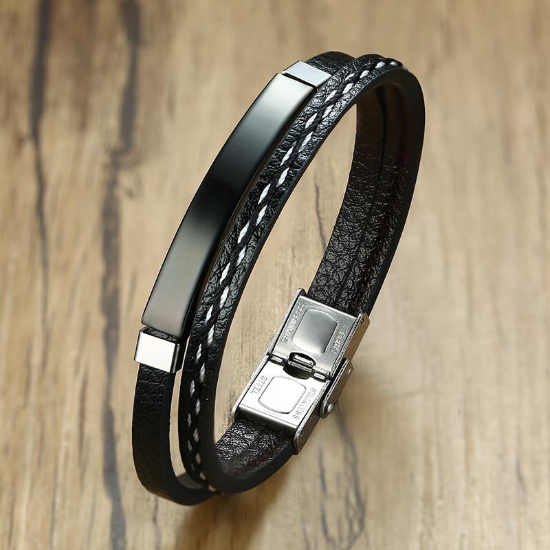 Bracelet en acier inoxydable pour hommes et femmes d'affaires, breloque avec nom personnalisé, bracelet cubain à longueur ajustable, cadeau pour garçon et femme