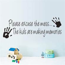 Please Excuse The Mess Waterproof Hand Print Wall Stickers Home Decor For Kids Rooms Window Decal Wallpaper Home Art Decoration(China)
