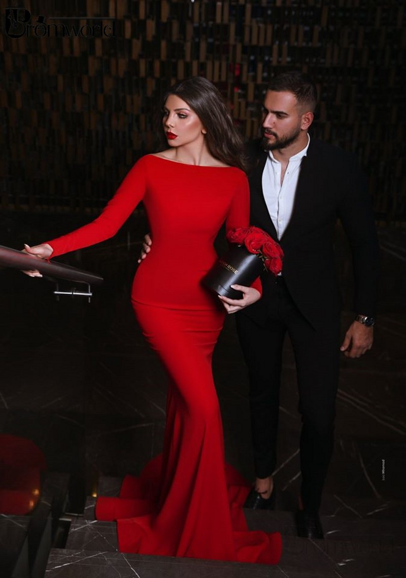 Red Backless Sexy Evening Dresses Long Vestidos De Fiesta De Noche Boat Neck Full Sleeves Elegant Mermaid Evening Party Gown