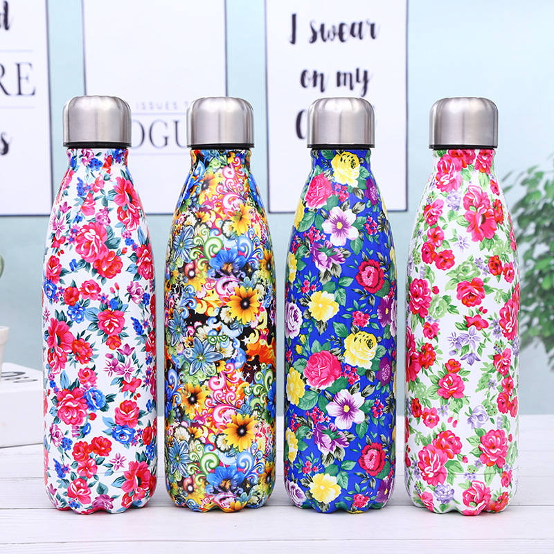 Floral Water Bottles Top Quality Water Bottle Coffee Cup Thermos Flask Sport Protein Shaker Travel Mug Outdoor Drink Bottle Gift