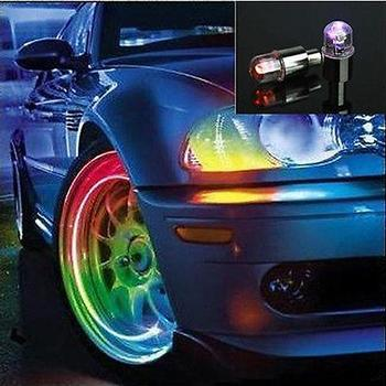 New Arrival 2 Pieces Colorful Bike Car Motorcycle Tyre Tire Valve Caps LED Wheel Lights image