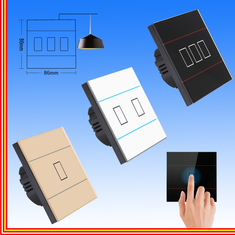 Wall touch switch wall lighting switch crystal glass panel sensor switch 1 gang AC220V Uk eu standard