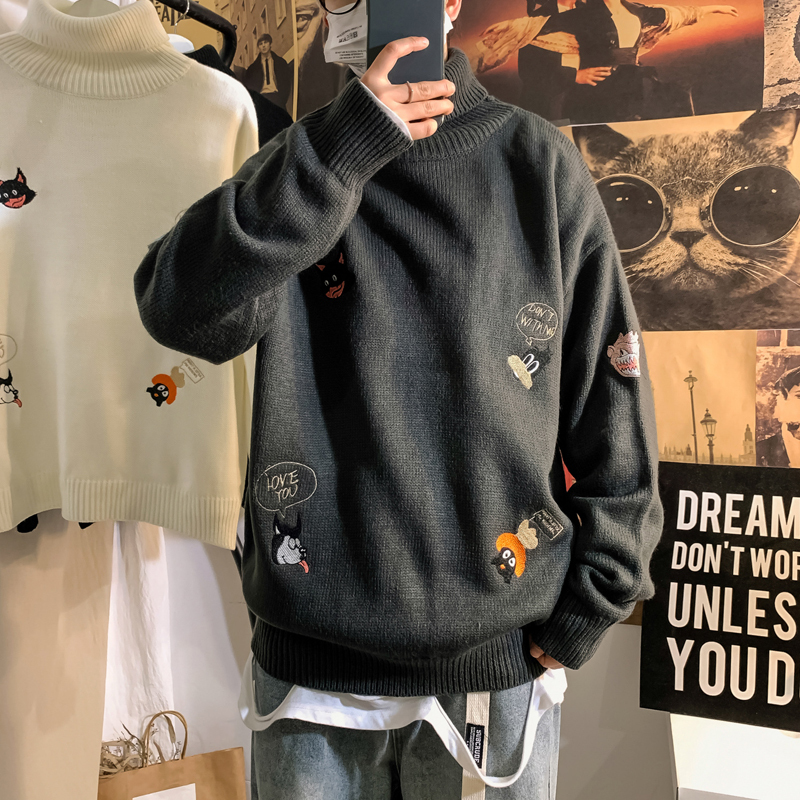 UYUK2019 Winter New Artistic Versatile Casual Loose Fashion Youth Cartoon Embroidered Heavy Turtleneck Men's Sweater Masculina