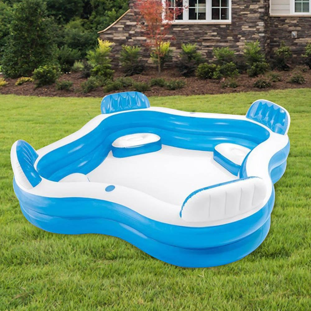 Swimming Pool PVC Plastic White Blue Pool Bottle Holder Four Built-in Seats Backrest Seat Childcare Family Swimming Pool