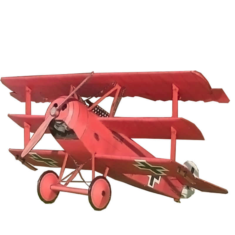 1:33 Fokker Tre-ala Fighter Aircraft FAI DA TE 3D Carta di Carta Modello di Set di Costruzione di Costruzione Giocattoli Educativi Giocattoli Modello Militare