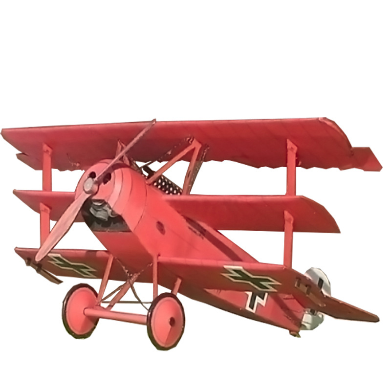 1:33 Fokker Three-wing Fighter Aircraft DIY 3D Paper Card Model Building Sets Construction Toys Educational Toys Military Model