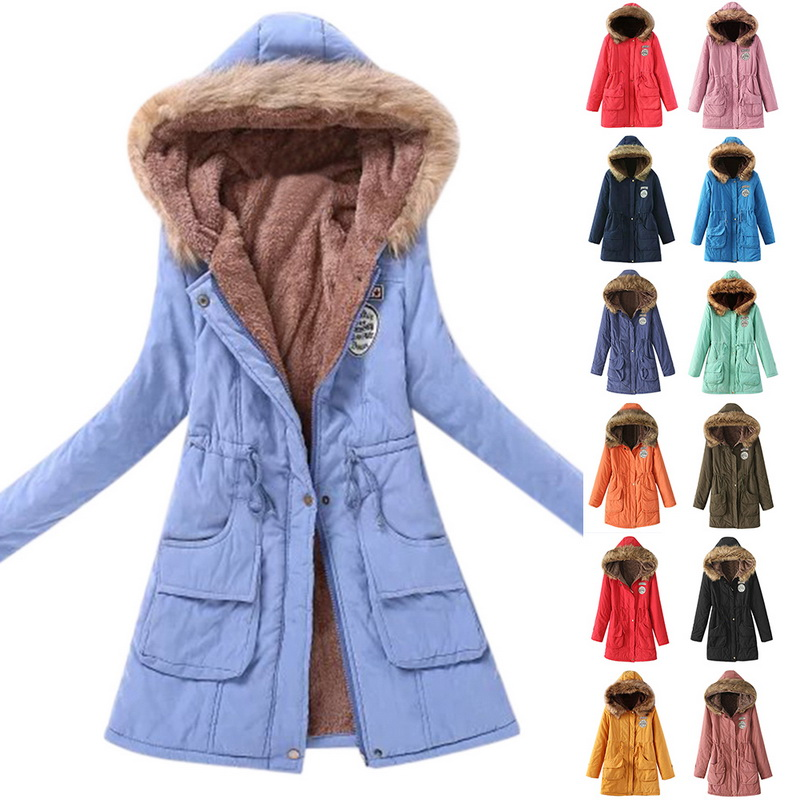 Winter Women Long Coat With Zipper Parka Female Hooded Jacket Winter Coat Cotton Fur Basic Jacket Long Coat For Women Parka