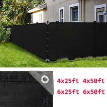 Black Privacy Fence Screen UV Sunshade Netting Fabric Fencing Mesh Garden Yard Windscreen Shade Cover 4x25'/4x50'/6x25'/6x50'