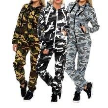 Zogaa 2019 New Women Casual Tracksuit Fashion Camouflage Zipper Hooded Sweatshirt + Pants 2 Pcs Female Printed Slim Fit Sets