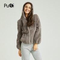 Pudi women real Rex rabbit fur coat jacket 2020 brand new full pelt natural fur coats ball jackets with fur hood CT824
