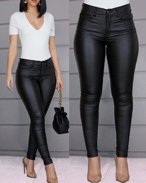 Spring Women Pu Leather Pants Black Sexy Stretch Bodycon Trousers Women High Waist Long Casual pencil pants top S-3XL plus size 1