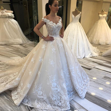 Luxe V hals Vestidos De Novia Off Shoulder Trouwjurken Prinses Baljurken Applicaties Kralen Kapel Train Bruid Jurken
