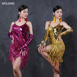 Image 1 - 라틴 댄스 드레스 의상 라틴 댄스 shinning 여성 라틴 댄스 여자 세트 경쟁 라틴계 드레스 프린지 스팽글