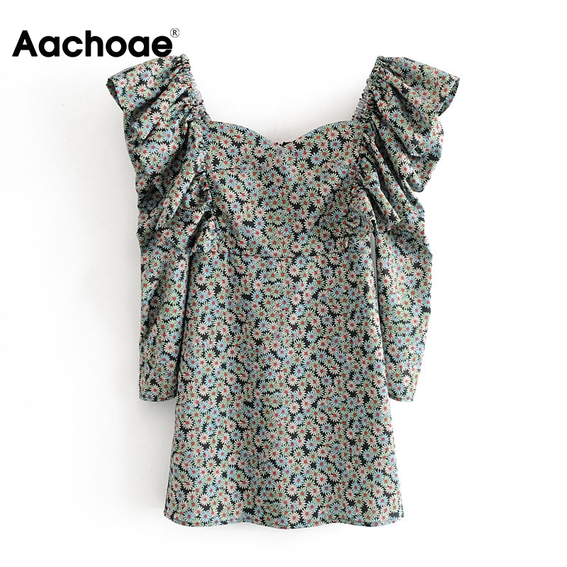 Aachoae Women Elegant Ruffle Mini Dress Spring Floral Print Vintage Party Dress Ladies Puff Long Sleeve Bodycon Dresses 2020
