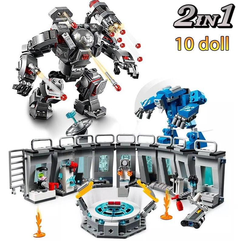 Лидер продаж, строительные блоки, Железный человек, модельные наборы для выставочного зала, кирпичи из фильма «Endgame City», игрушки, техника кон...