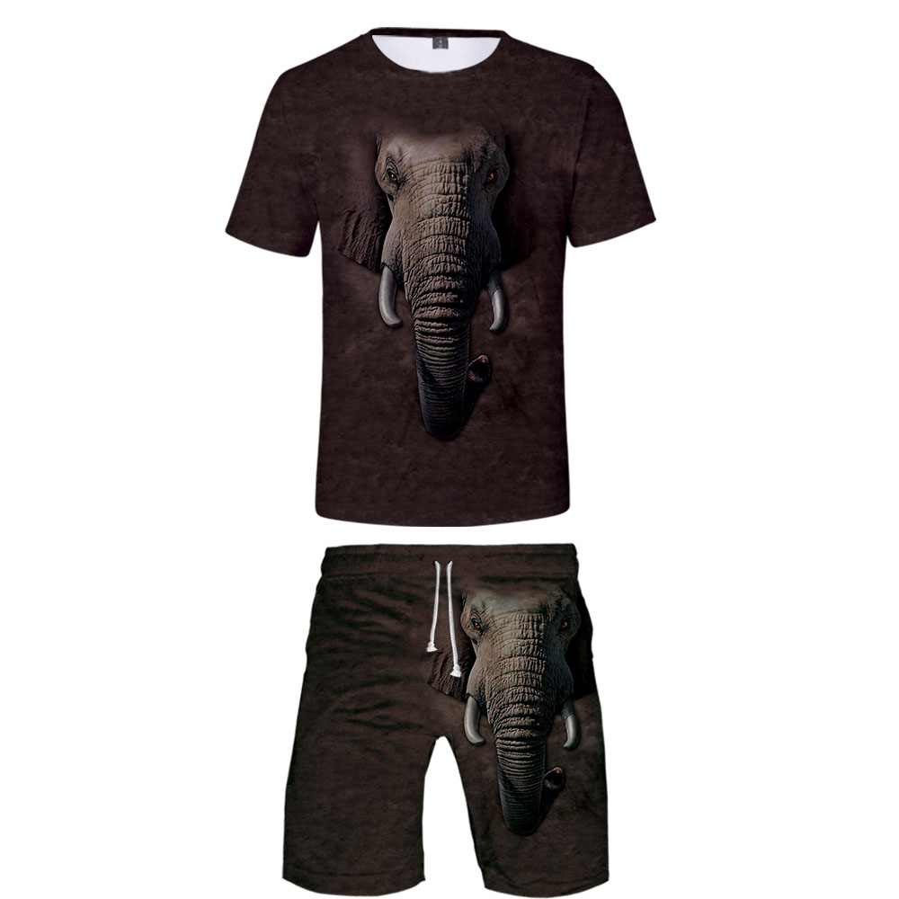 New 3D Animal T-shirt + Beach Shorts Male / Female Hip Hop Summer Casual 3D Elephant Print Boy / Girl Two-piece Fashion Cool