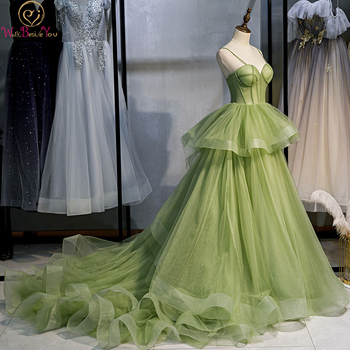 Long Woman Ceremony Dress Prom Fruit Green Ball Gown Tiered Tulle Princess Sweetheart Spaghetti Strap Chapel Train Evening - discount item  35% OFF Special Occasion Dresses