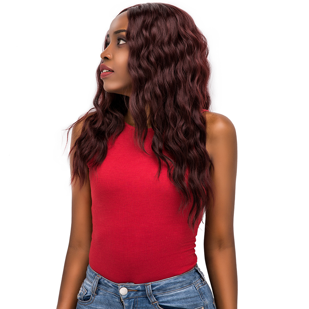 Lace Front Synthetic Hair Wigs Middle Part 99J Red Color X-TRESS 20inch Long Soft Natural Wave Trendy Lace Wig For Black Women