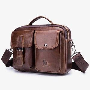 Image 4 - Men Genuine Leather Shoulder Messenger Bag mens Handbag Vintage Crossbody Bag Tote Business Man Messenger Bag