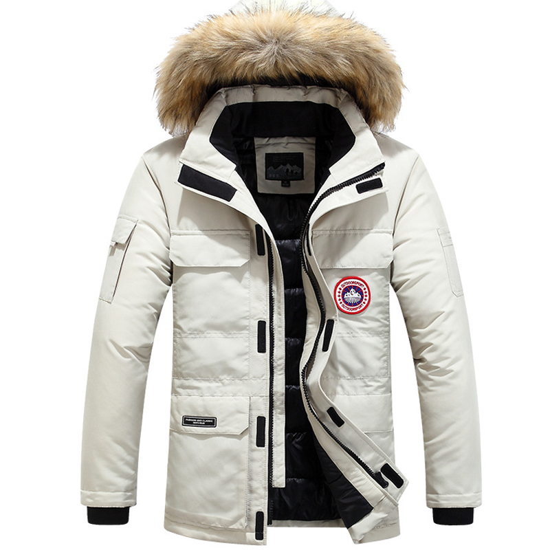 Winter Coat Windbreaker Men Fur Hooded Thicken   Parka   Jacket Men Streetwear Hiphop Military Coats Medium Long   Parkas   White HX033