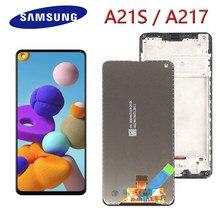 Oryginalny 6.5 ''ekran AMOLED do Samsung Galaxy A21s Lcd A217 ekran dotykowy Digitizer A21s SM-A217F/DS wyświetlacz wymiana