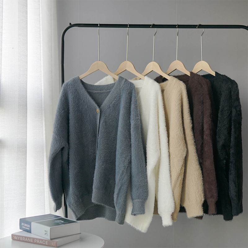 Winter Cardigan Sweater Women Coat Faux Fur Knitted Sweater Korean Button Cardigan Soft Warm Women Tops
