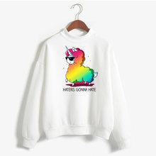 Милый Пуловер с принтом ламы альпака женские зимние топы длинным