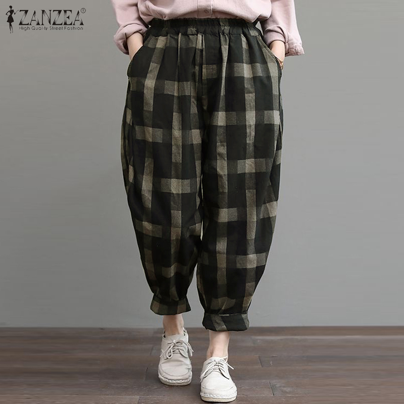 2020 Women Check Long Pants ZANZEA Casual Vintage Turnip Pantalon Elastic Waist Plaid Harem Trousers Female Palazzo Streetwear
