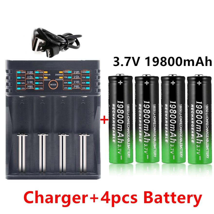 Литиевые аккумуляторы 18650, фонарик 18650, перезаряжаемая батарея 3,7 в 19800 мАч для фонарика + зарядное устройство 401 1 шт.