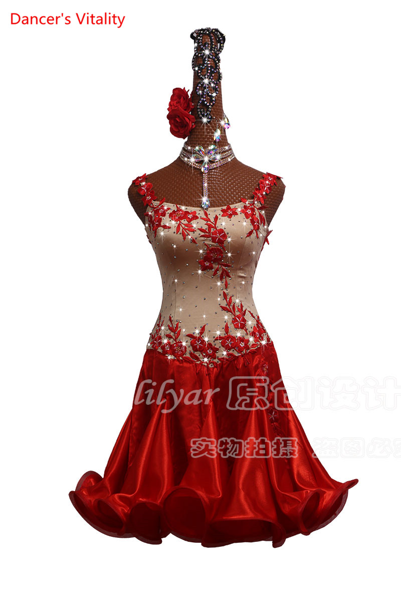Custom Made Women Latin Dance Competition Clothing Performance Wchildren Year Red Slim Fish Bone Embroidered Skirt