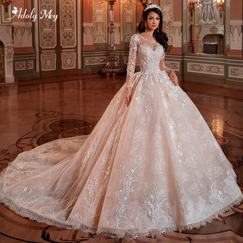 Adoly Mey Gorgeous Appliques Chapel Train Lace A-Line Wedding Dress 2020 Luxury Scoop Neck Beaded Full Sleeve Vintage Bride Gown