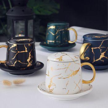Marble Mug Nordic Ceramic Mug Luxury Gold Pattern Mug With Lid Breakfast Mug Tea Cup Couple Mug For Girls woman Christmas Gifts 1