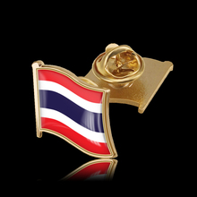 Thailand Enamel Pin and Brooches Flag Lapel Pin 3D Waving Ornaments Brooch Badge