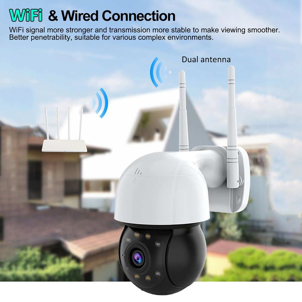 HD 1080P WIFI IP Camera Outdoor Security Camera PTZ 4X Zoom Infrared Night Vision Hemisphere CCTV Camera Two Way Audio