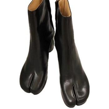 Women Ankle Leather Boots Split Toe Round Heels Splited Toe Lady Shoes Woman High Heels Female Boots Ninja Boots