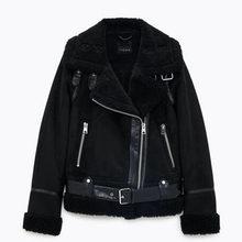 Chaqueta de piel sintética para mujer, abrigo de lana grueso para invierno, chaquetas de moto, abrigos de ante Vintage, prendas de vestir holgadas, chaqueta para mujer