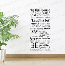 In This House We Are A Family Wall Decal Rules Poster Quote Sayings Sign Gift Vinyl Sticker Art Decor Print Stencil Mural WL139 vinyl art home decor education quote sign science motivational wall sticker mathematics wall decal math classroom poster ly1830