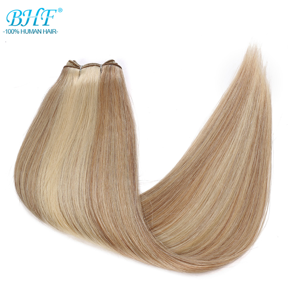 BHF Human Hair Weaves Straight 100g Machine Made Remy Hair Bundle Blonde Real Natural Human Hair Extensions