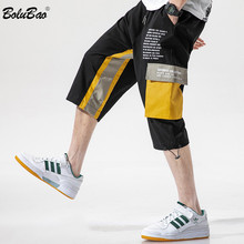 BOLUBAO Brand Men #8217 s Casual Pants Trend New Men High Street Hip Hop Calf-Length Pants Multi-Pocket Cargo Pants Male cheap Flat COTTON Pockets REGULAR 2 - 3 Full Length Midweight Broadcloth Drawstring