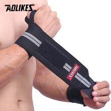 AOLIKES 1 par de muñequera soporte de muñeca levantamiento de pesas muñeca entrenamiento de gimnasio correas de soporte envolturas Crossfit Powerlifting