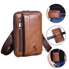Męska torba z prawdziwej skóry piterek nerka mała torebka crossbody etui na telefon Blosa Mini portfel na pasek