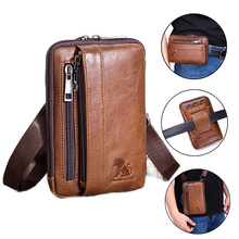 Mens Genuine Leather Fanny Pack  Waist bag Bum Bag Small Crossbody Bag Phone Pouch Blosa Mini Belt Wallet