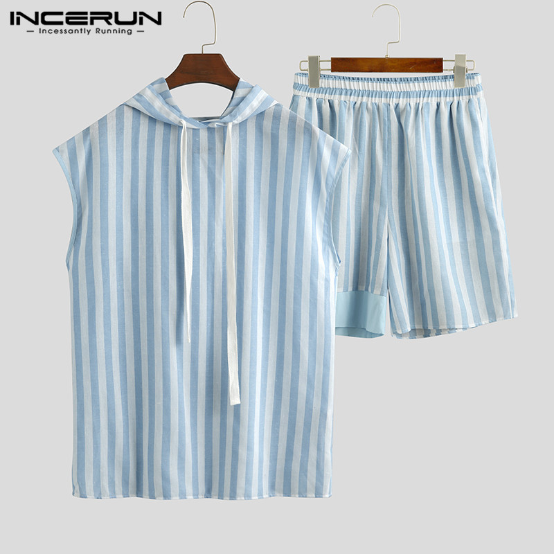 2020 Men Striped Pajamas Sets Hooded Sleeveless Tops Shorts Breathable Loungewear Sets Summer Fashion Bodybuilding Suit INCERUN