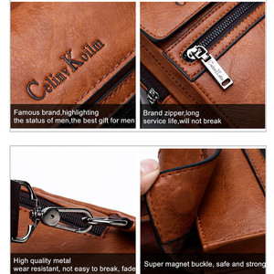 Image 5 - Celinv Koilm High Quality Men Chest Bags Split Leather Large Size Crossbody Bag Daypacks For Young Man Brand Sling Bags Unisex