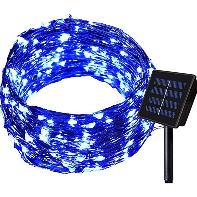 Işıklar ve Aydınlatma'ten Aydınlatma İpleri'de Güneş dize işıklar açık 100 LED su geçirmez peri dize dekoratif bakır tel ışıkları düğün veranda yatak odası parti mavi title=