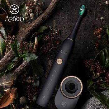 P7 Rechargeable Apiyoo Electric Toothbrush Sonic Toothbrush 5 Mode Adult Timer  IPX7 Waterproof Automatic Ultrasonic Brush free dhl or ems rechargeable ultrasonic intelligent adult electric with antibacterial silicone brush fully automatic toothbrush
