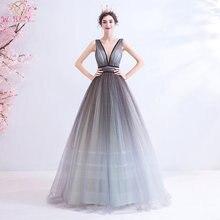 Длинное серое платье для выпускного вечера 2020 блестящее бальное