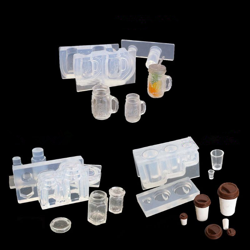 Drink Bottle Coffee Cup Honey Jar Resin Silicone Molds Epoxy Resin Jewelry Tools
