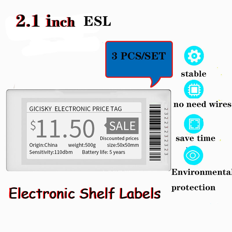 3pcs 2.1'' Gicisky Electronic Price Tag BluetoothTFT Display Screen Digital Price Shelf Tag Replacement Easy Refresh Information